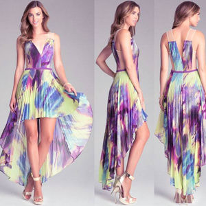 Bebe Hi Low pleated purple dress 12 NWT